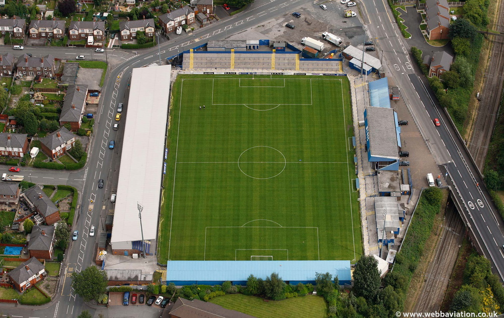 Moss Rose  football stadium  home of Macclesfield Town  from the air