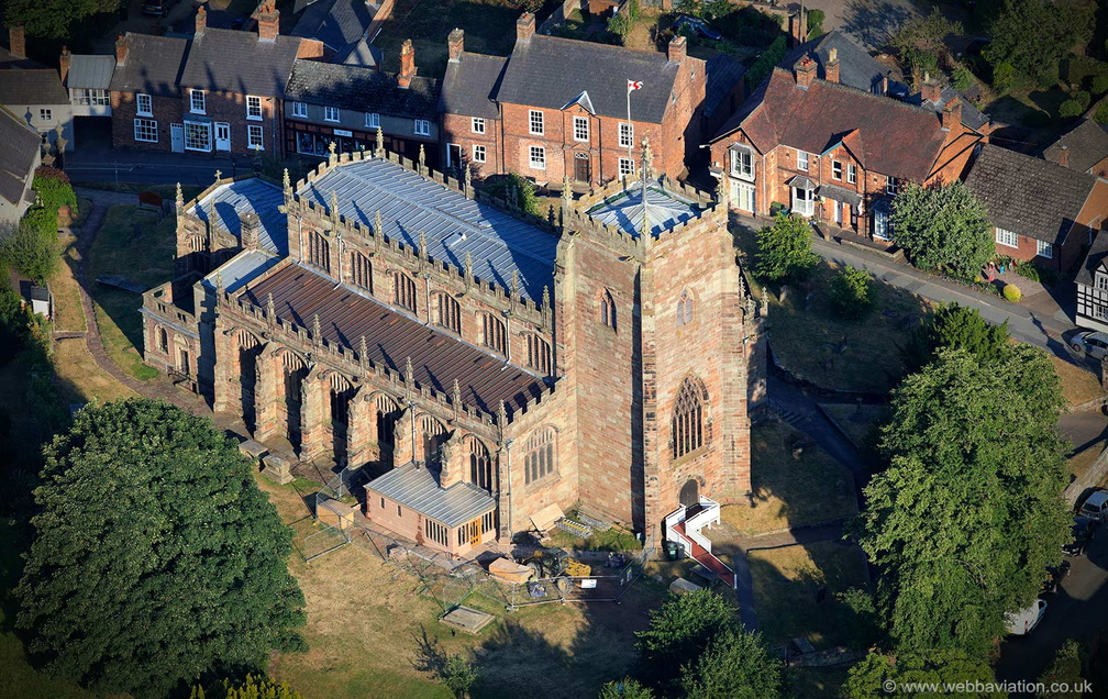 St Oswald's Church, Malpas Cheshire from the air