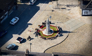 Sandbach War Memorial from the air