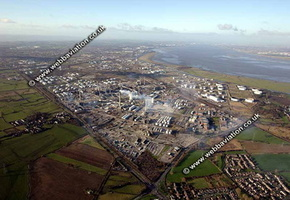 Stanlow Oil Refinery at Ellesmere Port Cheshire aerial photograph