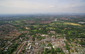 Cheadle Stockport Cheshire aerial photograph