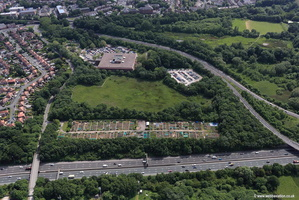 Heathside Park Allotments   Cheadle Heath Stockport  Cheshire aerial photograph
