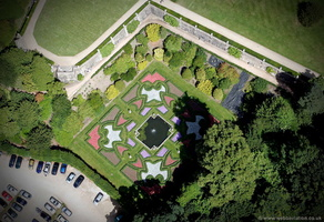 Dutch Garden at Lyme Park  from the air
