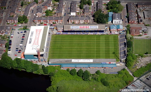 Edgeley Park Stadium, home of  Stockport County football Club aerial photo