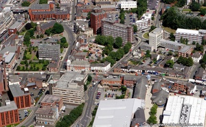 A6 Wellington Road, Stockport town centre,  from the air