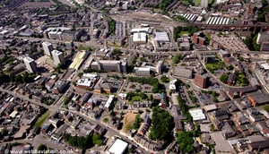 Middle Hillgate, Stockport town centre,  from the air