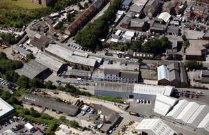 Canal St & Joules St  Stockport from the air