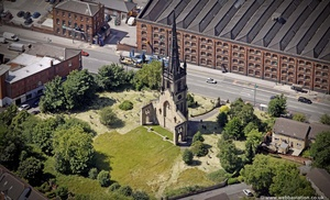 Christ Church ruin Stockport from the air