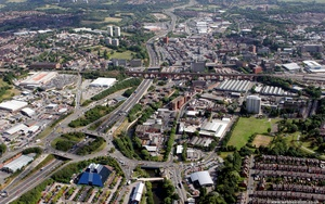 Stockport  Cheshire from the air