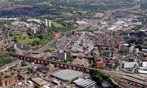 Stockport town centre  from the air