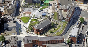 St Peter's Church, Stockport from the air