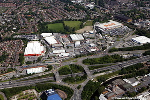 Stockport town centre aerial photograph