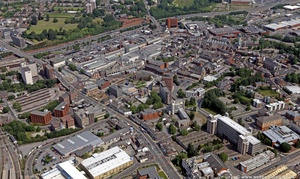 Stockport town centre looking along Wellington Road South  from the air