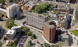 Heron House & Victoria House Stockport  from the air