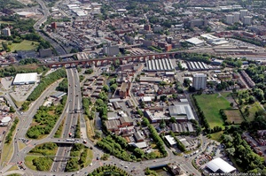 Stockport  looking East along the River Mersey showing the area around Wood Street and Chestergate from the air