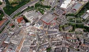 site of Stockport Castle i from the air