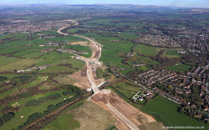 construction of the Manchester Airport Eastern Link  (MAELR) aka A555 / Manchester Airport relief road Stockport aerial photograph