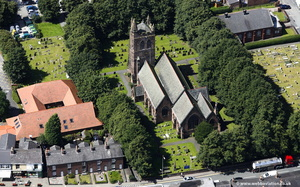 St Thomas's Church Warrington from the air