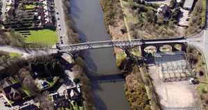 Cantilever Bridge, Ackers Rd bridge over the Manchester Ship Canal, Warrington from the air