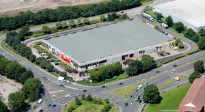 Pinners Brow Retail Park from the air
