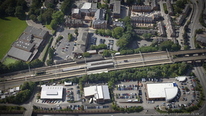 Wilmslow railway station from the air