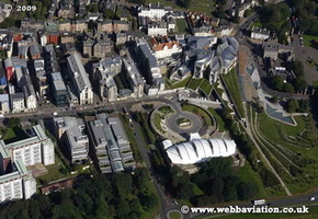 Scottish Parliament Building Holyrood, Edinburgh Scotland  UK aerial photograph