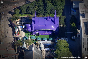 Channel 4 inverted Cow  Edinburgh Scotland  UK aerial photograph