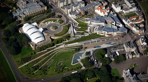 Scottish Parliament Building Holyrood Edinburgh  from the air