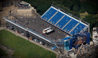 temporary grandstand stage and seating for the The Royal Edinburgh Military Tattoo  from the air