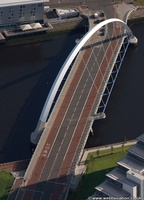the Clyde Arc - Squinty Bridge  Glasgow Scotland   UK aerial photograph