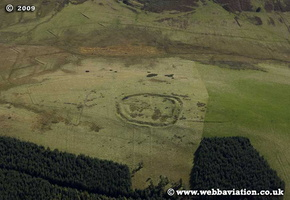 Hillfort at Dodburn hill Scotland  UK aerial photograph
