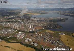 Grangemouth Oil Refinery Scotland  UK aerial photograph