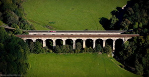 Chirk Aqueduct and adjacent Chirk Railway Viaduct  aerial photograph