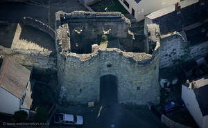 Burgess Gate, part of Denbigh medieval town walls aerial photograph