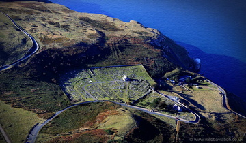St. Tudno's Church church and cemetery on the Great Orme  from the air