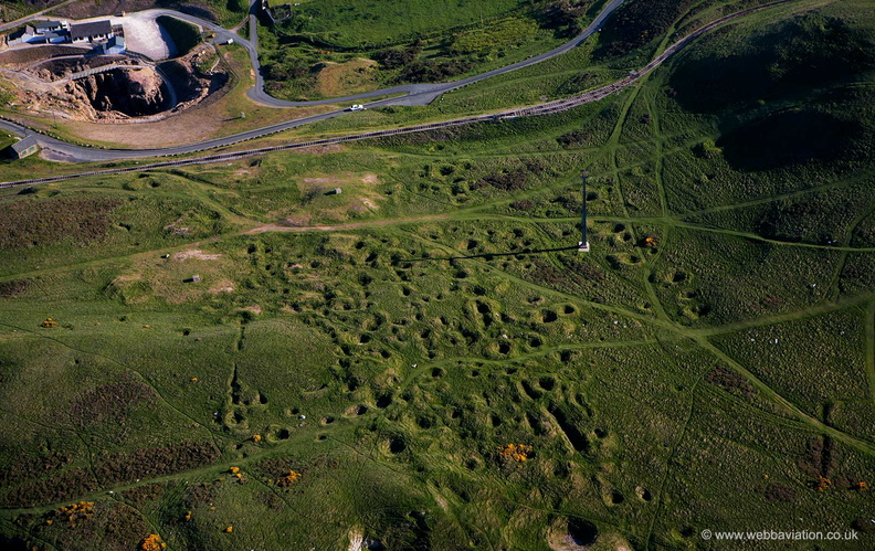 remains of ancient bell pit mining on the Great Orme  North Wales from the air
