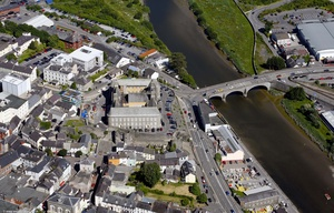 Carmarthen  Carmarthenshire  Wales aerial photograph