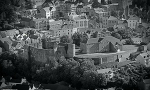 Haverfordwest Castle Pembrokeshire Wales UK aerial photograph