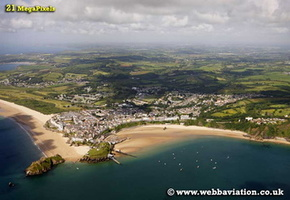 Tenby Pembrokeshire  Wales aerial photograph