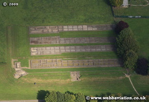 Caerleon Wales site of the Roman Fort Isca Augusta / Isca Silurum aerial photograph