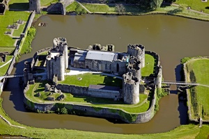 Caerphilly Castle Gwent Wales  aerial photograph