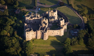 Raglan Castle Wales  from the air