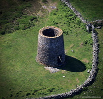 Foel Felin Wynt dissused Windmill  on the Llyn Peninsiula North Wales  aerial photograph