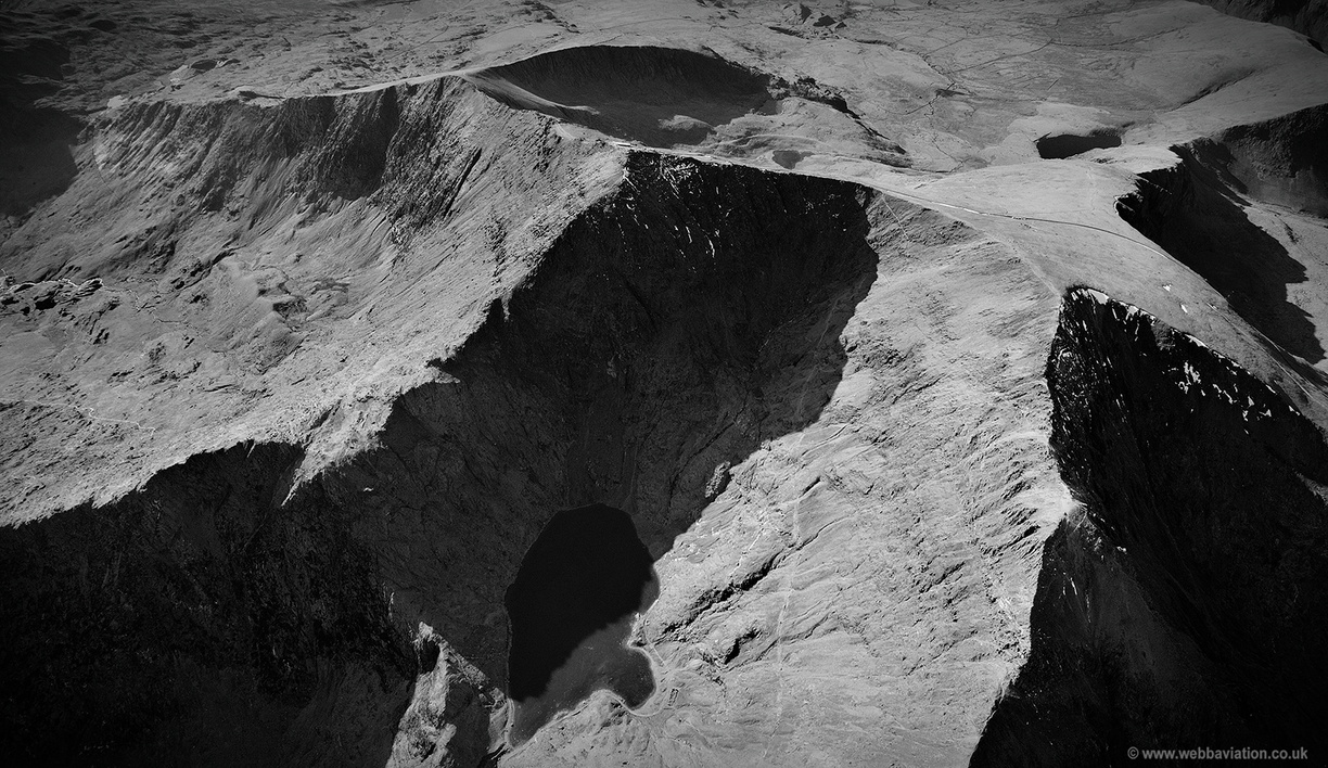 Mount Snowdon Wales black & white from the air