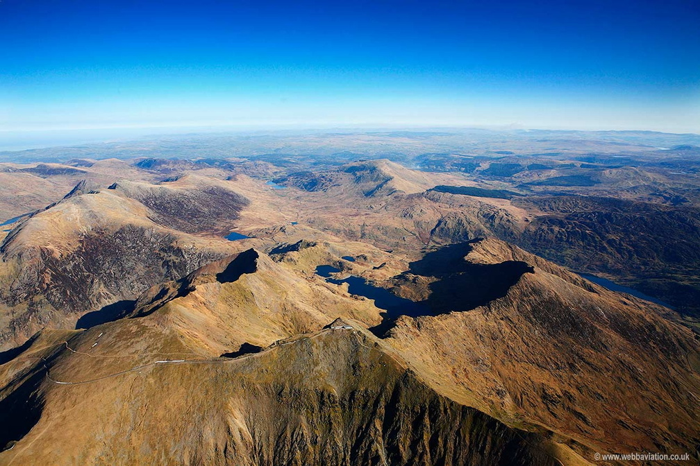 Mount Snowdon  Wales UK, Wales from the air