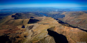 summit of Mount Snowdon  Wales UK, Wales panorama from the air
