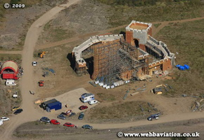 Film set for Ironclad resembling Rochester Castle built in   Wales aerial photograph