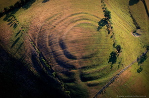 Pentre Camp Iron Age multivallate Hillfort from the air