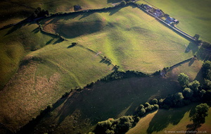 enigmatic archeology in Powys  Wales from the air