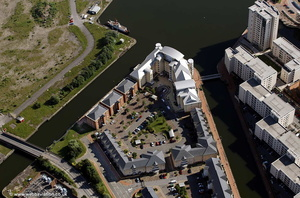 Adventurers Quay, Cardiff Bay, CF10. aerial photograph